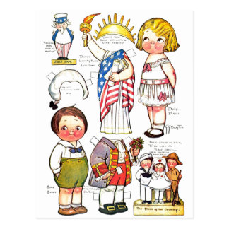 Statue of Liberty Uncle Sam George Washington Doll Postcard
