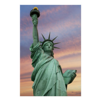 statue of liberty under vivid sky poster