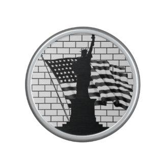 Statue of Liberty/US Flag B&W Portable Speakers Speaker