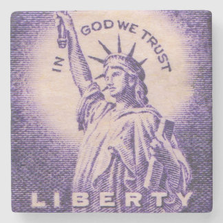 Statue of Liberty US Vintage Postage Stamp Stone Beverage Coaster