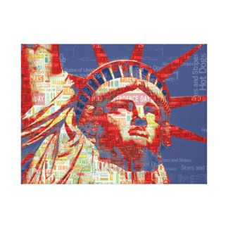 Statue of Liberty with 4th of July Typography Gallery Wrap Canvas