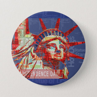 Statue of Liberty with 4th of July Word Cloud 7.5 Cm Round Badge