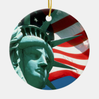 STATUE OF LIBERTY WITH AMERICAN FLAG CHRISTMAS ORNAMENT