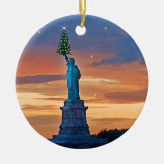 Statue of Liberty with Christmas Tree Christmas Ornament