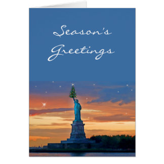 Statue of Liberty with Christmas Tree Greeting Card
