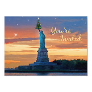 Statue of Liberty with Christmas Tree Invited Card
