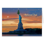 Statue of Liberty with Christmas Tree Personalise Greeting Cards