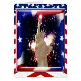Statue of Liberty with Fireworks for 4th of July Greeting Card