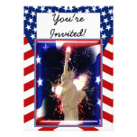 Statue of Liberty with Fireworks for 4th of July Custom Invites