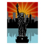 Statue of Liberty with New York Skyline Poster