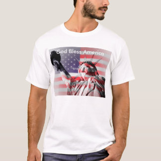 Statue of Liberty wrapped in Stars & Stripes T-Shirt