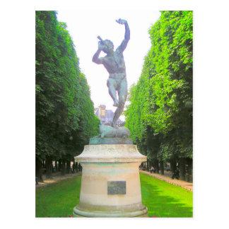 Statue of Pan, Luxembourg Garden, Paris France Postcard