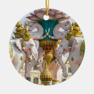 Statue of pink elephants Bangkok Thailand Round Ceramic Decoration