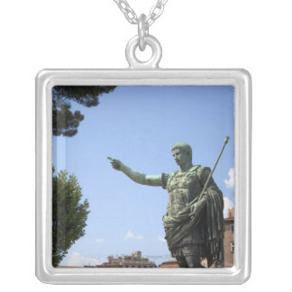 Statue of Roman emperor near the Roman Forum Silver Plated Necklace