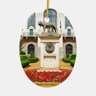 Statue of Romulus and Remus in Mures, Romania Ceramic Oval Decoration