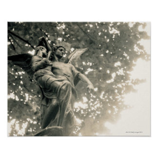 Statue of St Michael, Pere Lachaise Cemetery, Poster