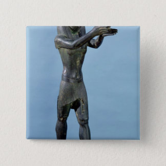 Statue of the God Horus Making a Drink 15 Cm Square Badge