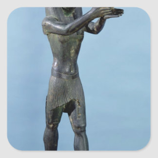 Statue of the God Horus Making a Drink Square Sticker
