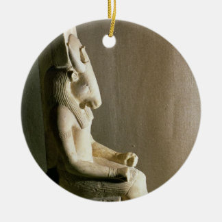 Statue of the god Montu with the head of a bull, f Christmas Ornament