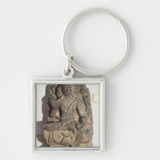 Statue of the Hindu God Brahma Silver-Colored Square Key Ring
