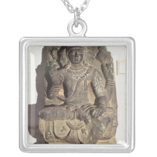 Statue of the Hindu God Brahma Silver Plated Necklace