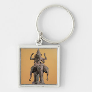 Statue of the Hindu God Ganesh Silver-Colored Square Key Ring