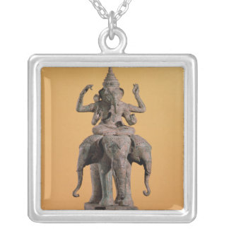 Statue of the Hindu God Ganesh Silver Plated Necklace