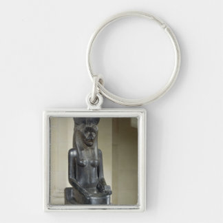 Statue of the lion-headed goddess Sekhmet, from th Silver-Colored Square Key Ring