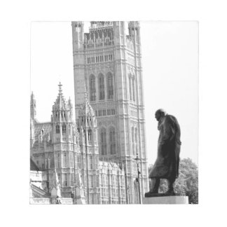 Statue of Winston Churchill in London Notepad