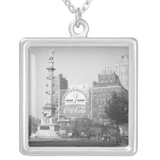 Statue on american city square B&W Silver Plated Necklace