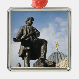 Statue with Glass dome on Kunstverein building Silver-Colored Square Decoration