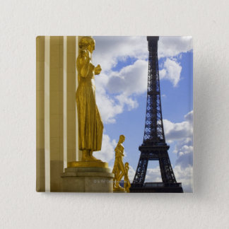 Statues and Eiffel Tower 15 Cm Square Badge