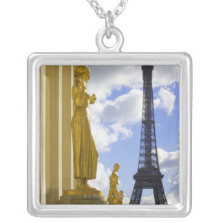 Statues and Eiffel Tower Silver Plated Necklace