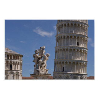 Statues and leaning Tower of Pisa Poster