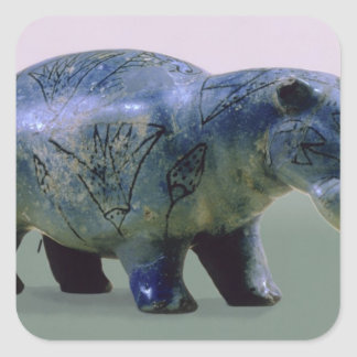 Statuette of a hippopotamus square sticker