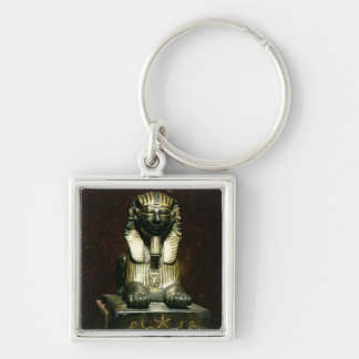 Statuette of a sphinx of King Tuthmosis III, New K Silver-Colored Square Key Ring