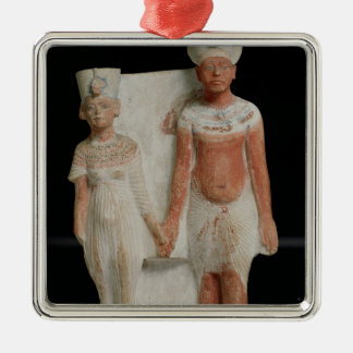 Statuette of Amenophis IV  and Nefertiti Silver-Colored Square Decoration