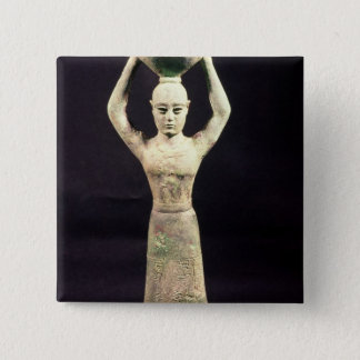 Statuette of offering bearer with votive 15 cm square badge