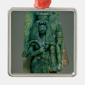 Statuette of Queen Tiye, wife of Amenophis III, Ne Silver-Colored Square Decoration