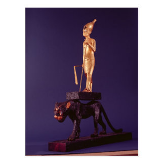 Statuette of the king upon a leopard post card
