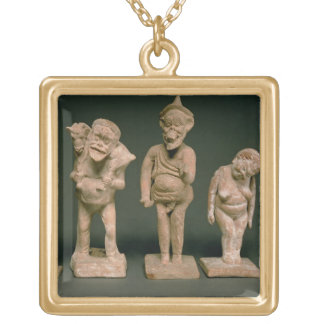 Statuettes of Actors and Actresses, Hellenistic, c Square Pendant Necklace