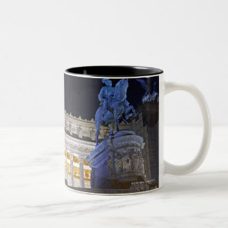 Staue and columns at the monument Vittorio Two-Tone Coffee Mug