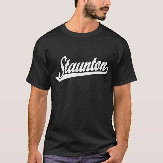 Staunton script logo in white T-Shirt