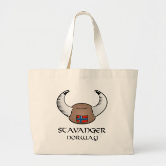 Stavanger Norway Viking Hat Large Tote Bag