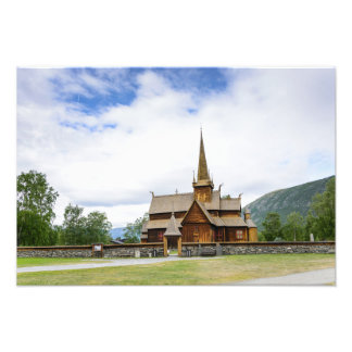 Stave church in Lom, Norway photo print