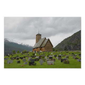 Stave church with graveyard in Norway poster