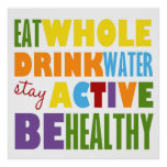 Stay Active Be Healthy Colourful Text Poster