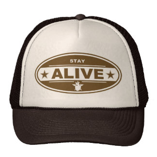 STAY ALIVE BROWN HAT