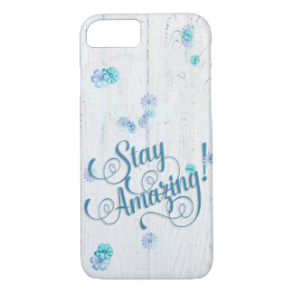 Stay Amazing with daisies on wood iPhone 8/7 Case