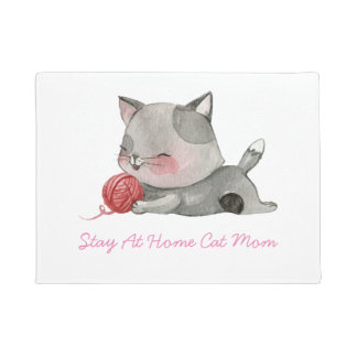 Stay At Home Cat Mum Door Mat
